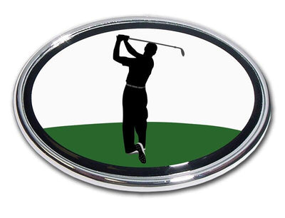 Golfer Follow Through Swing Chrome Car Emblem