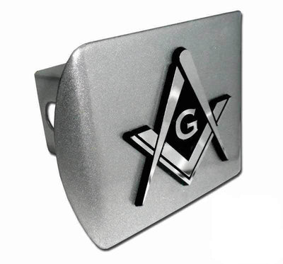 Mason Square Compass Brushed Chrome Hitch Cover