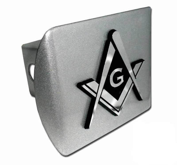 Mason Square Compass Brushed Chrome Hitch Cover - Chrome Car Emblems | Trailer Hitch Covers/Masonic Car Emblems - I AmEricas Flags