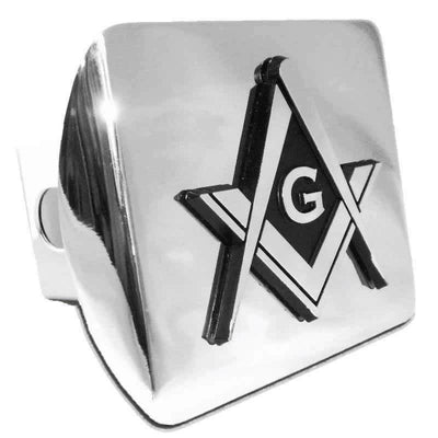 Mason Square Compass Chrome Hitch Cover