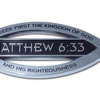 Christian Fish Chrome Car Emblem Matthew 6:33