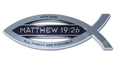 Christian Fish Chrome Car Emblem Matthew 19:26