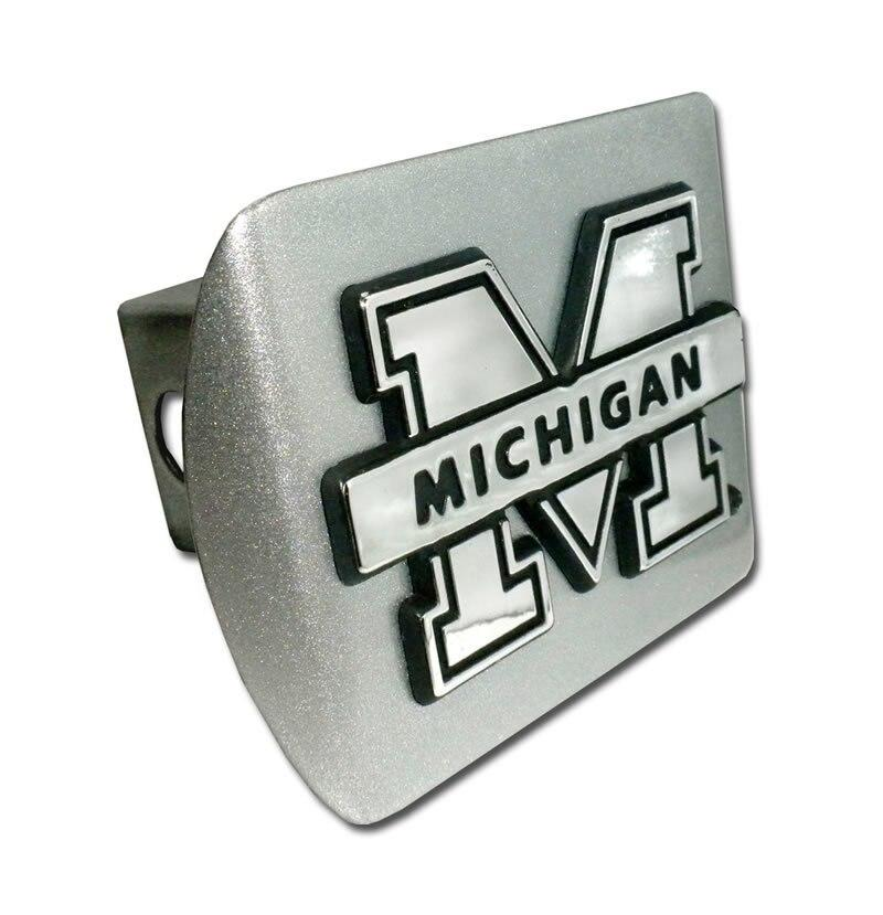 University of Michigan Brushed Chrome Hitch Cover