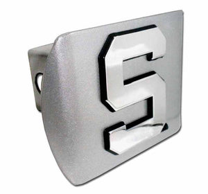 Michigan State University S Brushed Chrome Hitch Cover