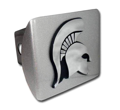 Michigan State University Spartan Brushed Chrome Hitch Cover
