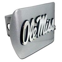 Ole Miss University of Mississippi Brushed Chrome Hitch Cover