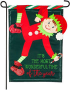 Most Wonderful Time of the Year Elf Applique Garden Flag