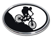 Mountain Biker Chrome Car Emblem