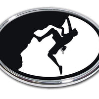 Mountain Climber Chrome Car Emblem