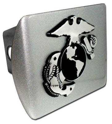 Marines Insignia Brushed Chrome Hitch Cover