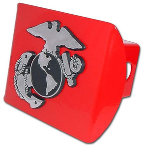 Marines Insignia Red Hitch Cover - Chrome Car Emblems | Trailer Hitch Covers/Military Emblems - I AmEricas Flags