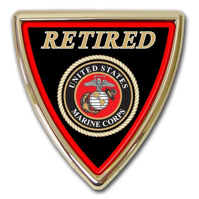 Retired Marines Shield Chrome with Color Car Emblem