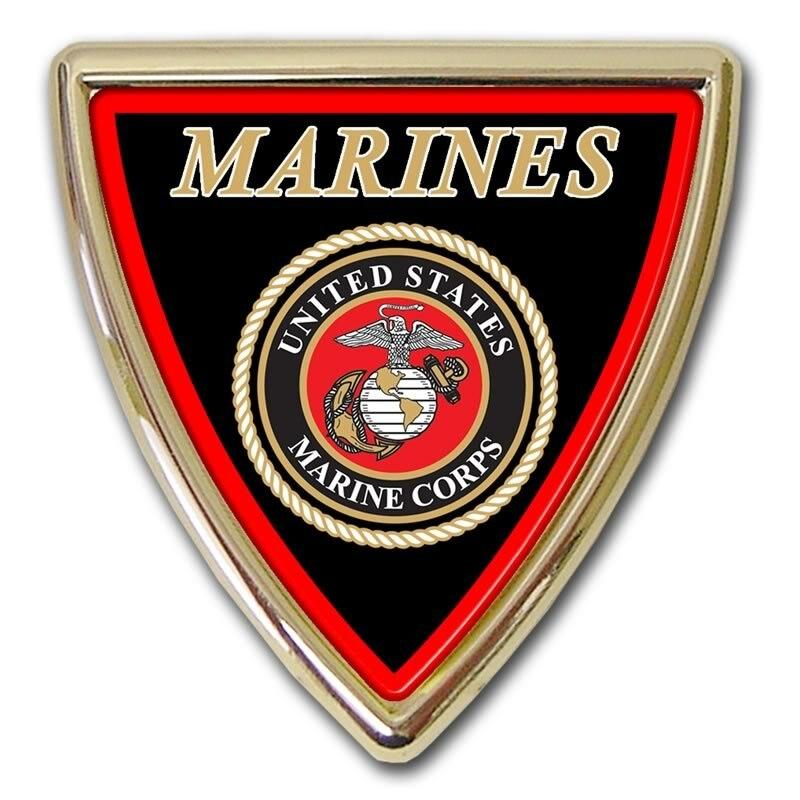 Marines Shield Chrome with Color Car Emblem