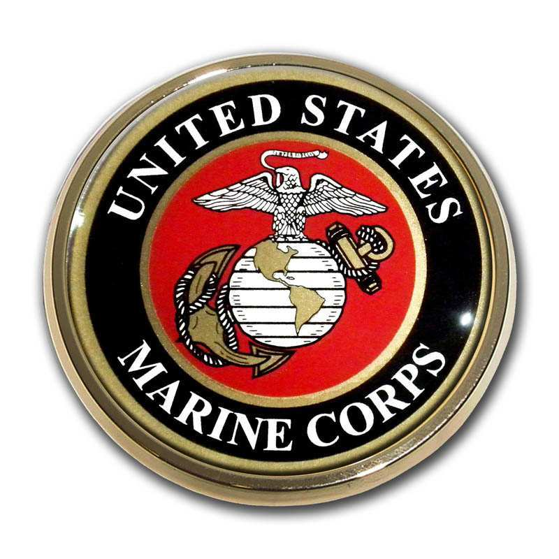 Marines Seal Chrome with Color Car Emblem