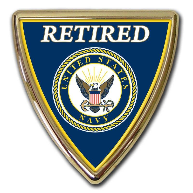 Retired Navy Shield Chrome with Color Car Emblem