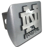 University of Notre Dame Football Brushed Chrome Hitch Cover