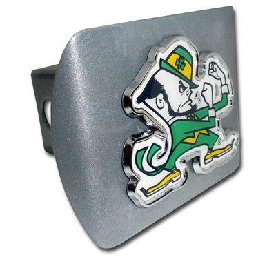 University of Notre Dame Leprechaun with Color Brushed Chrome Hitch Cover