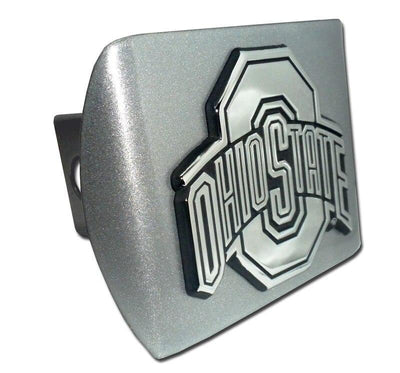 Ohio State University Brushed Chrome Hitch Cover