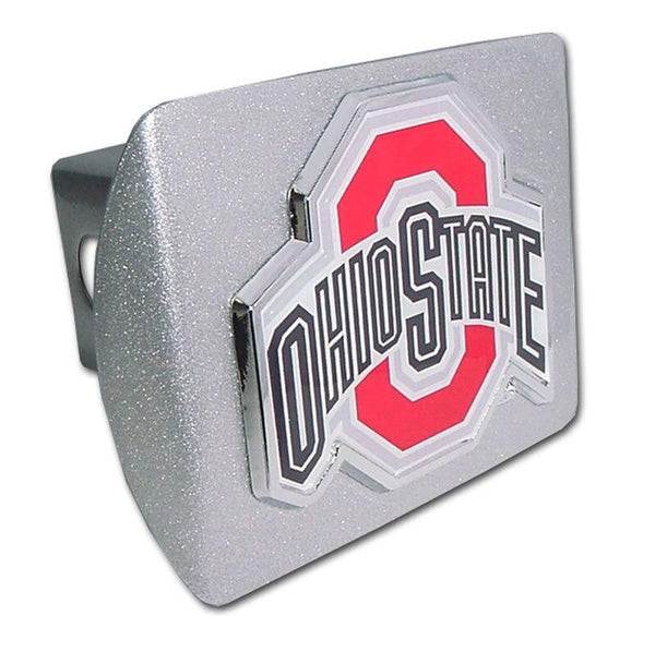 Ohio State University Color Logo Brushed Chrome Hitch Cover