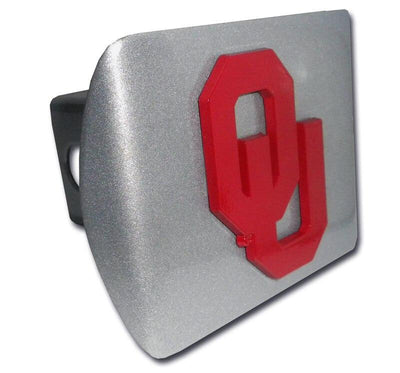 University of Oklahoma Crimson OU Brushed Chrome Hitch Cover