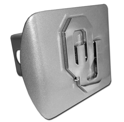 University of Oklahoma OU Brushed Chrome Hitch Cover