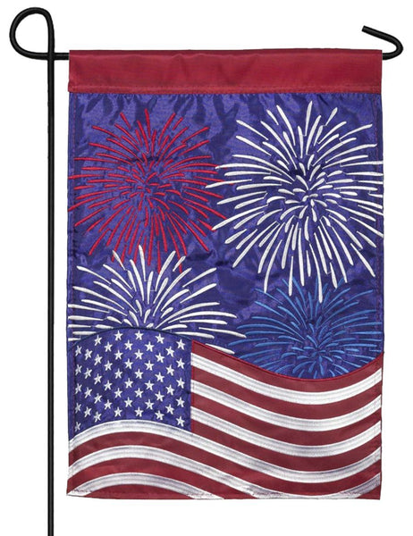 Patriotic Fireworks Double Applique Garden Flag - I AmEricas Flags