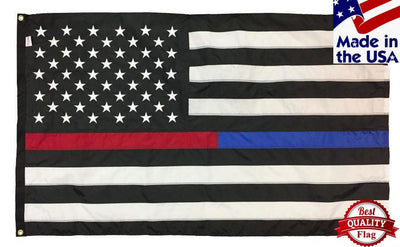 Police and Firefighter Black and White American Flag 3x5 Sewn Nylon