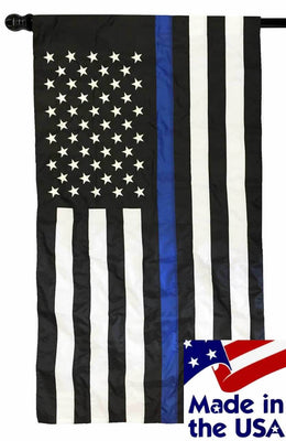 Police Thin Blue Line Black and White American Flag 3x5 with Pole Sleeve