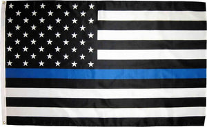 Police Thin Blue Line Black and White American Flag 3x5