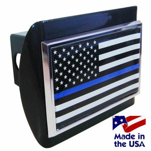 Police Thin Blue Line Black and White American Flag Black Hitch Cover