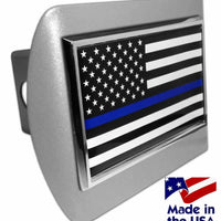 Police Thin Blue Line Black and White American Flag Brushed Chrome Hitch Cover