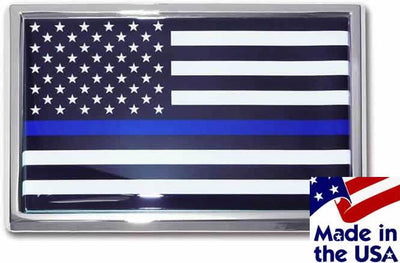 Police Thin Blue Line Black and White American Flag Car Emblem
