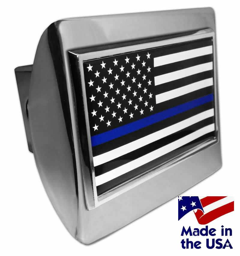 Police Thin Blue Line Black and White American Flag Shiny Chrome Hitch Cover - Police | Firefighter | EMS/Police Thin Blue Line Flags - I AmEricas Flags