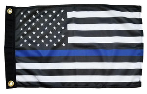 Police Thin Blue Line Black and White American Knit Polyester 12x18 Boat Flag