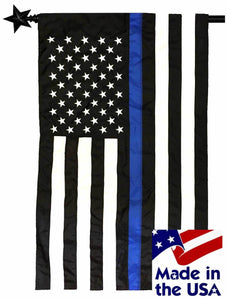 Police Thin Blue Line Black and White American Sewn Nylon House Flag