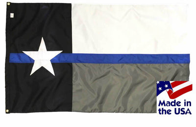 Police Thin Blue Line Black and White Texas Flag 3x5 Sewn Nylon