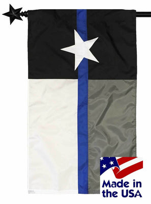 Police Thin Blue Line Black and White Texas Sewn Nylon House Flag
