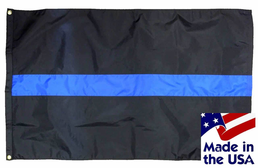 Police Thin Blue Line Flag 3x5 Sewn Nylon