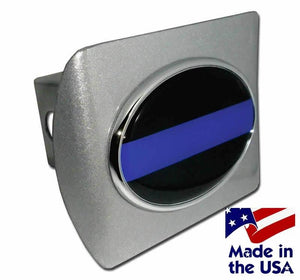 Police Thin Blue Line Oval Brushed Chrome Hitch Cover