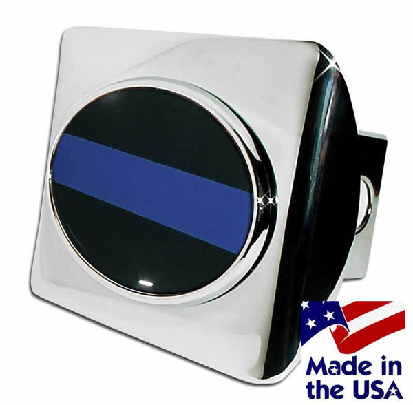 Police Thin Blue Line Oval Chrome Hitch Cover