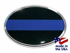 Police Thin Blue Line Oval Chrome with Color Car Emblem