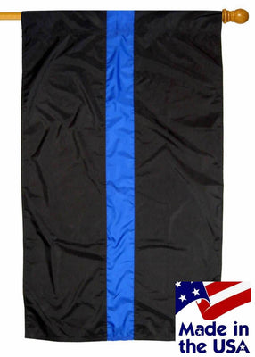 Police Thin Blue Line Sewn Nylon House Flag