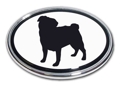 Pug Chrome Car Emblem
