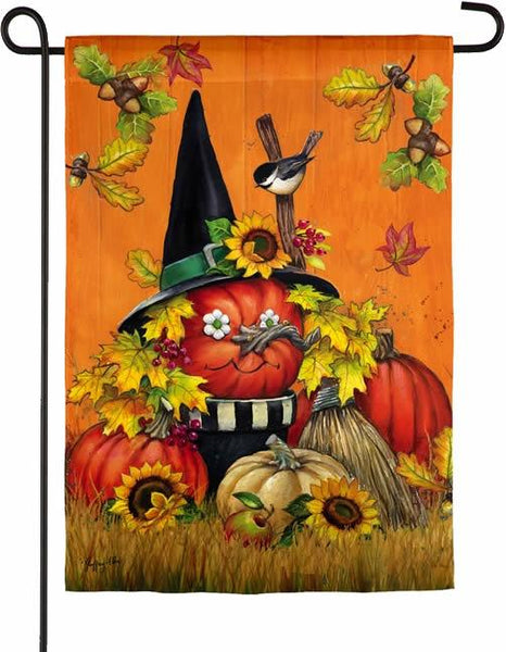 Pumpkin Witch Suede Reflections Garden Flag - I AmEricas Flags
