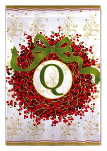 Berry Wreath Monogram Q House Flag - All Decorative Flags/Monogram Flags - I AmEricas Flags