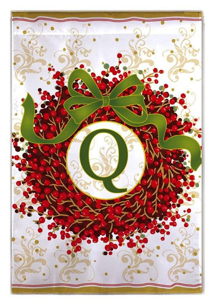 Berry Wreath Monogram Q House Flag