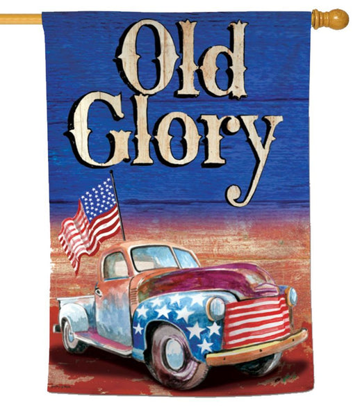 Rustic Patriotic Truck and Waving Flag House Flag - I AmEricas Flags