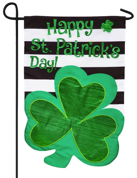 Saint Patrick's Day Stripes Applique Garden Flag