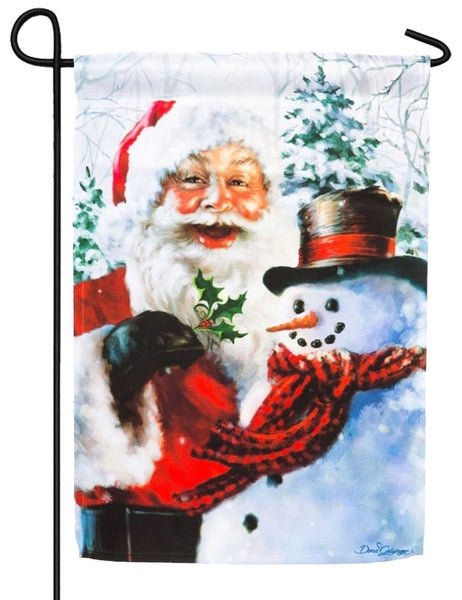 Santa and Frosty Suede Reflections Garden Flag - I AmEricas Flags