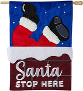Santa Stop Here Chimney Applique House Flag